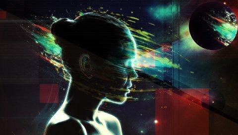лицо, девушка, планета, ум