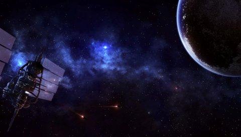 спутник, планета, вселенная, звезды, туманности