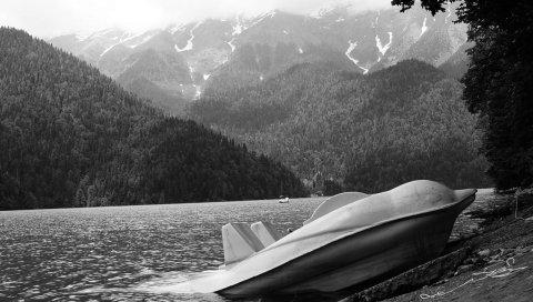 Абхазия, горы, озеро, рица, катамаран, побережье, черно-белые