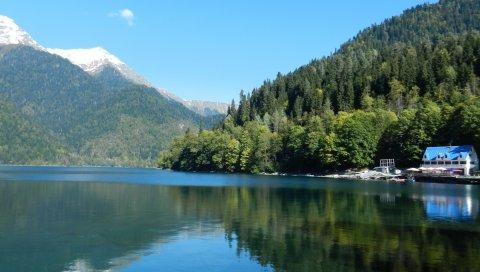Деревья, лес, склоны, горы, водохранилище, дом
