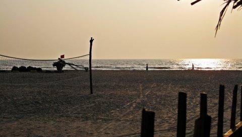 Пляж, песок, сетка, побережье