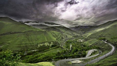 Дорога, горы, холмы, петля, асфальт, серпантин, высота, облака, серый