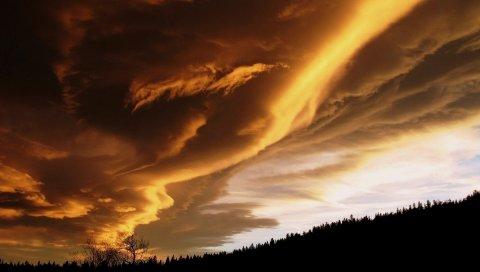 Облака, тяжелые, небо, мрачные, плотные