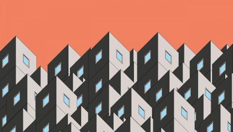 Графика, здание, форма, симметрия