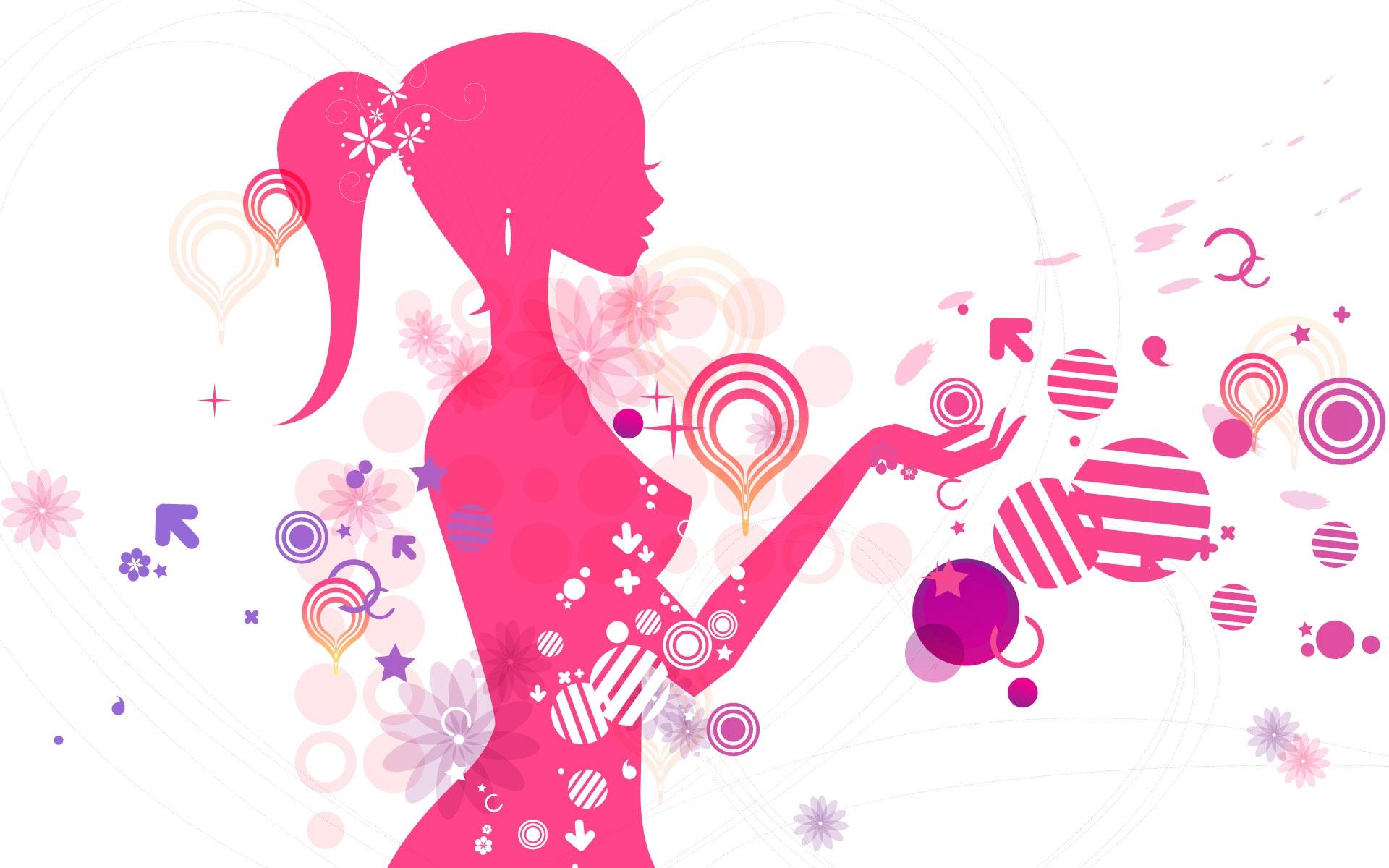 Картинки Девушка, силуэт, розовый, круги, узоры фото и обои на рабочий стол