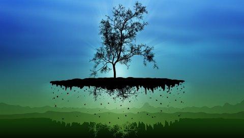 Остров, дерево, силуэты, тени