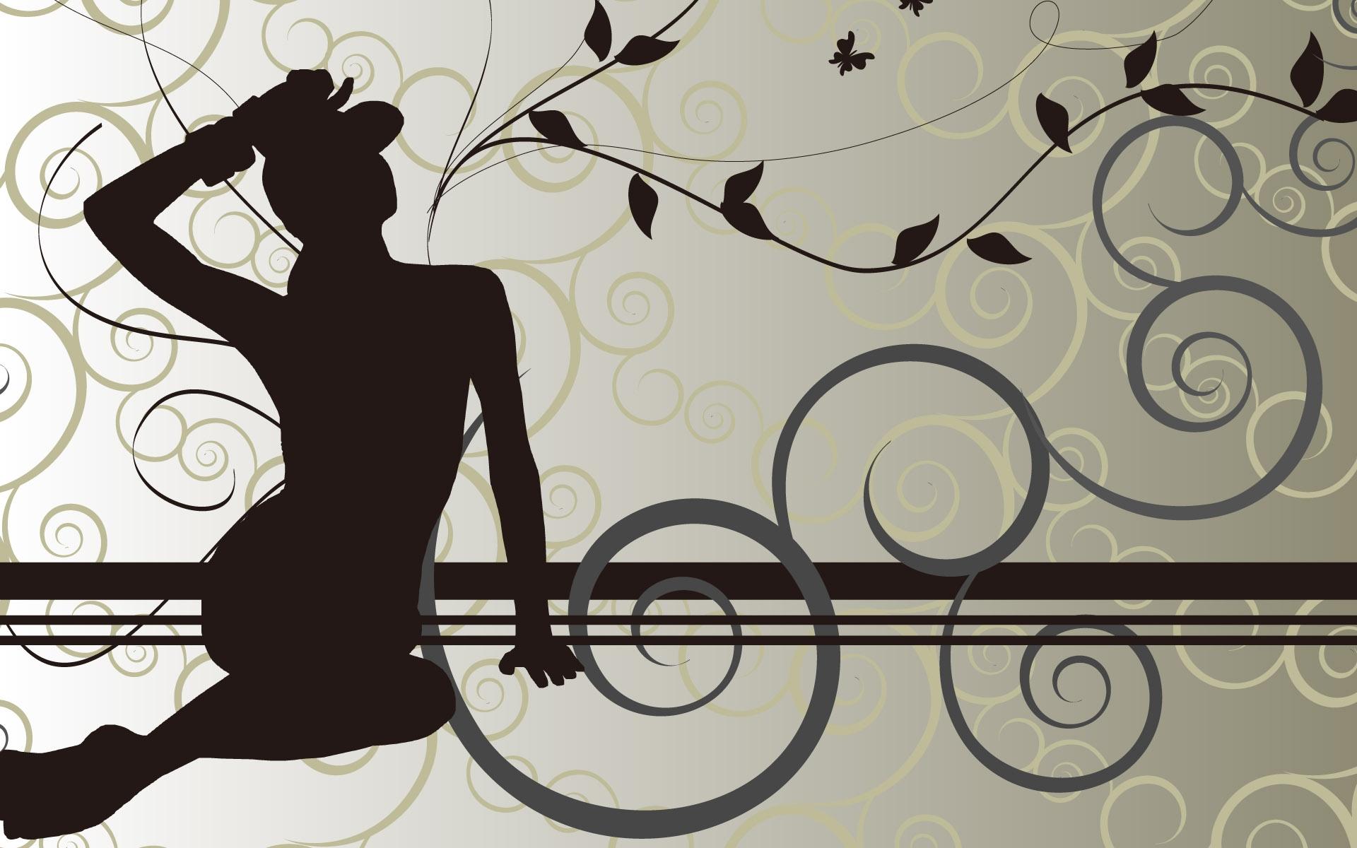Картинки Девушка, листья, узор, силуэт фото и обои на рабочий стол