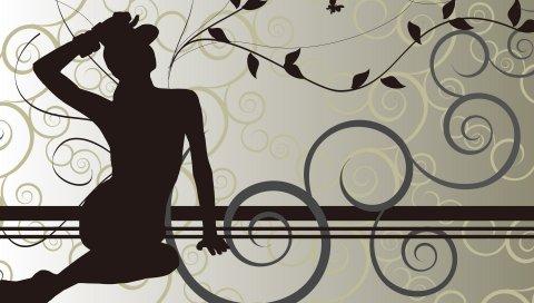 Девушка, листья, узор, силуэт