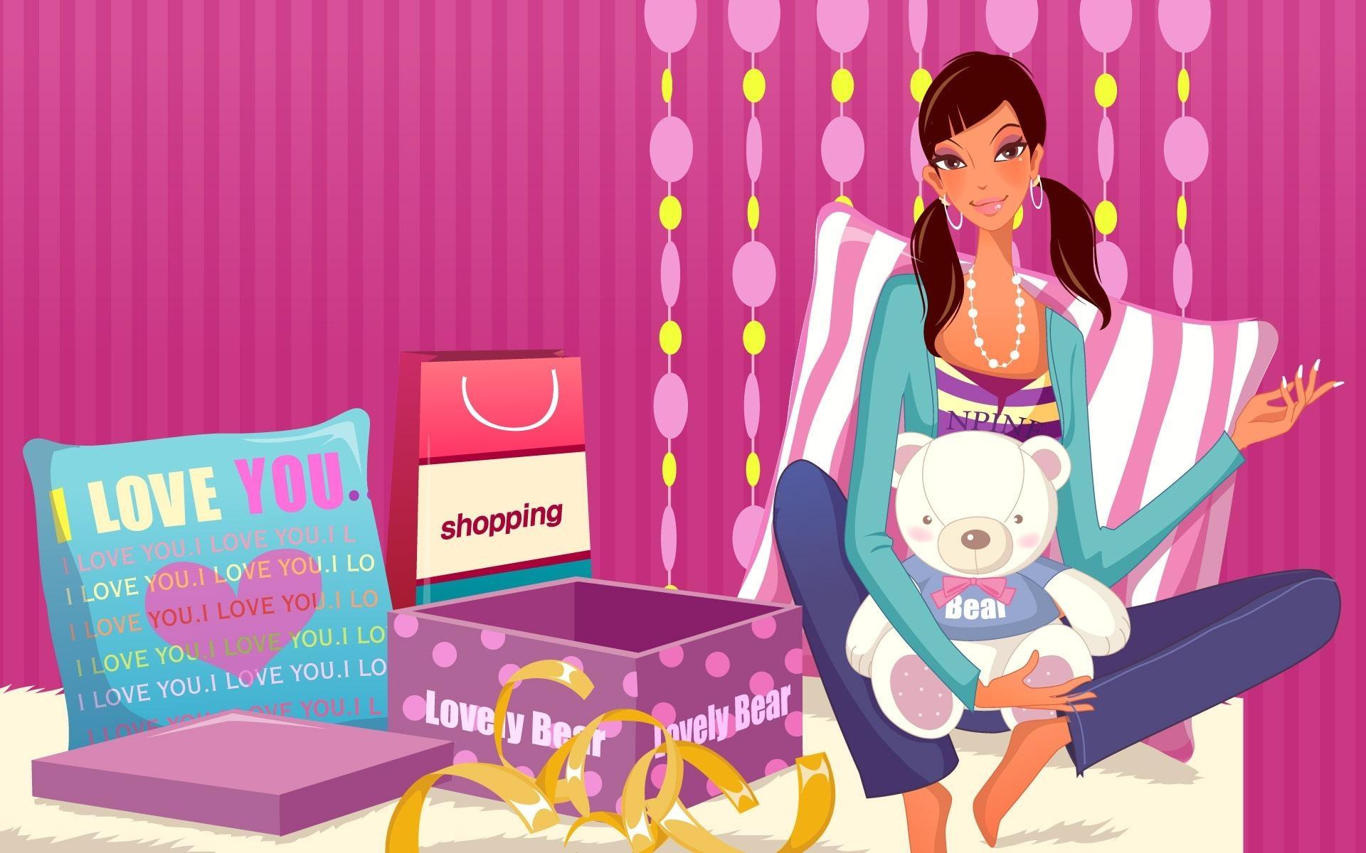 Картинки Девушка, подросток, игрушка, коробки, комната фото и обои на рабочий стол