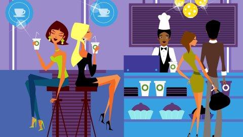 Бар, еда, кафе, бармен, люди, посетители