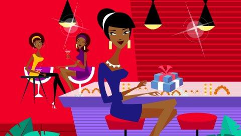 Девушка, кафе, стиль, подарочная коробка, стол, сидеть