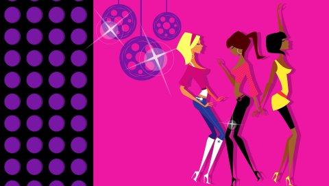 Дискотека, девушка, танец, платье, стиль