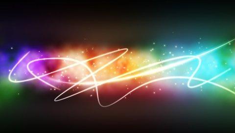 Линии, волнистые, красочные, фон, яркие