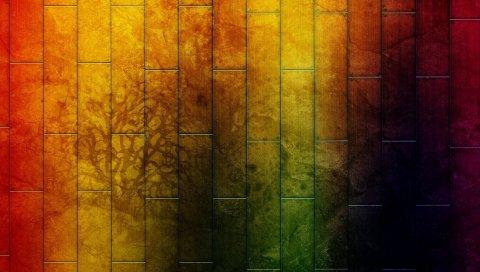 Стена, краска, дерево, узор, свет