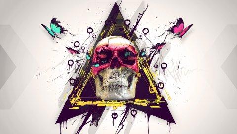 Череп, краска, бабочка, треугольник