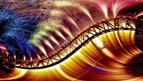 Мост, фейерверк, красочный