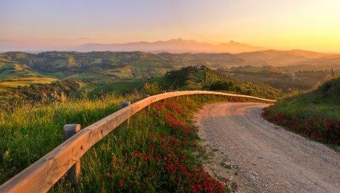 Италия, дорога, защита, спуск, поворот, вечер, упад, цветы