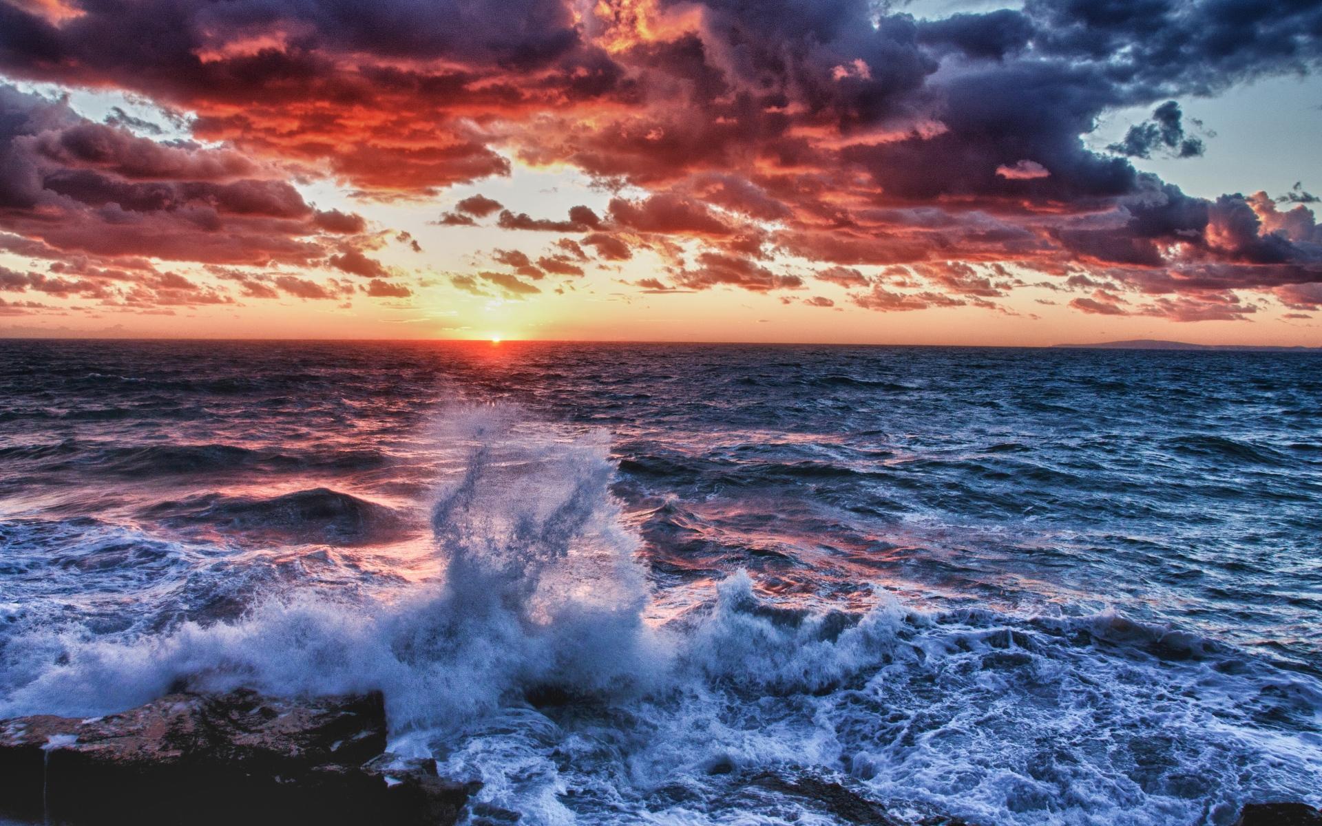 Картинки Волна, море, брызги, закат, вечер, сумерки, тени, цвета фото и обои на рабочий стол
