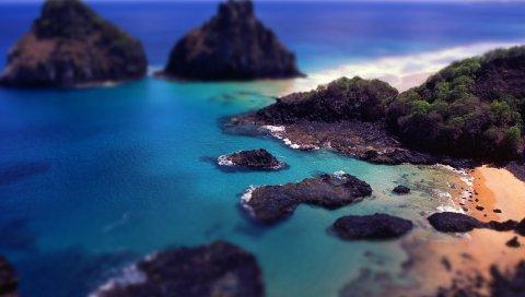 Побережье, скалы, залив, эффект, залив, редукция, голубая вода