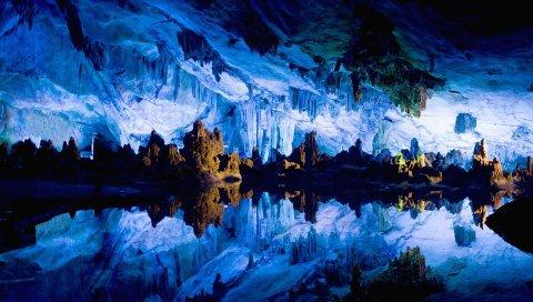 Пещера, сталактиты, сталагмиты, вода, отражение, зеркало