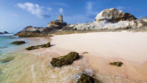 Рифы, побережье, песок, скалы, пляж, небо, синий, солнечно