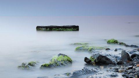 Камни, мох, скалы, гладкая поверхность, тишина, туман, вуаль, мокрый, блок, берег, подпись