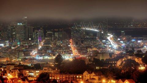 Строительство, туман, ночь, сан-франциско, калифорния, США