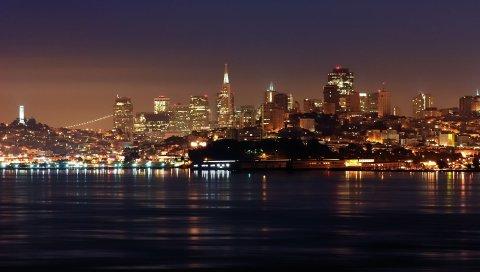 Сан - франциско, горизонт, ночь, калифорния, США