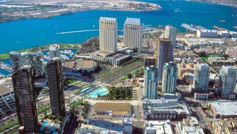 Сан-Диего, центр города, вид сверху, небоскребы, калифорния, США