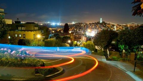 Ломбард, ночь, сан-франциско, калифорния, США