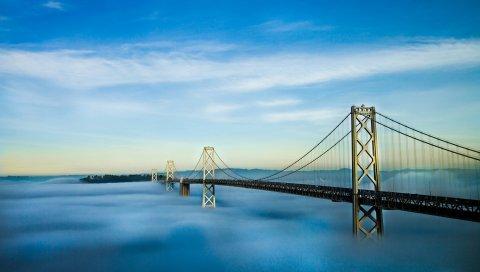 Окленд, Мост залива, Туман, Сан-Франциско, Калифорния, США