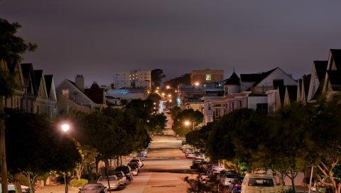 Улица, сан-франциско, калифорния, огни, холм