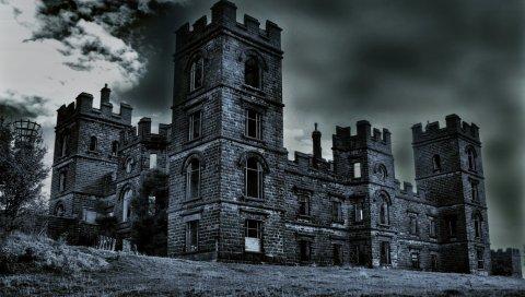 Здание, замок, старый, камень