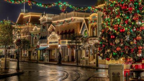 Город, улица, праздник, рождество, атмосфера, hdr