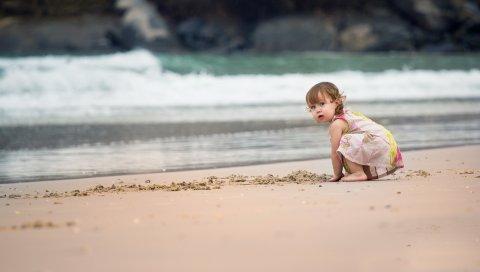 Ребенок, пена, море, пляж, песок