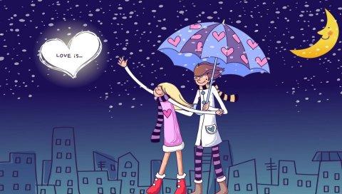 Пара, прогулки, дождь, рисунок, зонтик