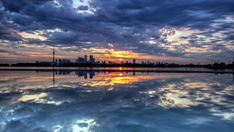 Вечер, снижение, город, остров, расстояние, берег, облака, отражение