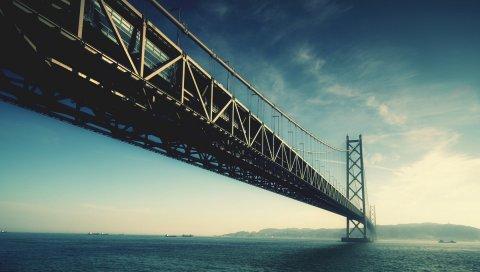 мост, река, вода, небо, цвет, краски, снизу