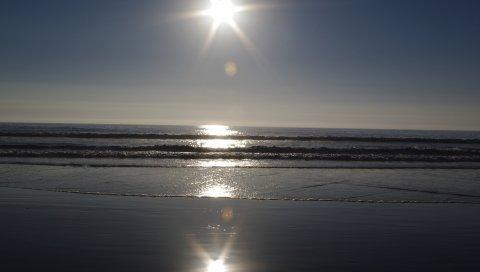 солнце, море, волны, океан, свет, блики, отражения