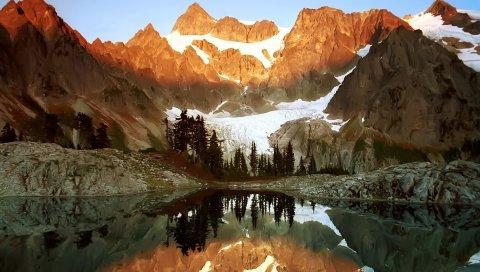 скалы, горы, озеро, пейзаж, снег, свет