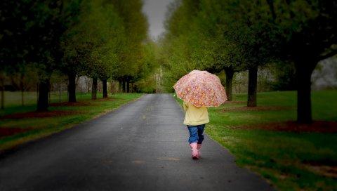 парка, зонтик, дерево, дорога , ходьба, облачная