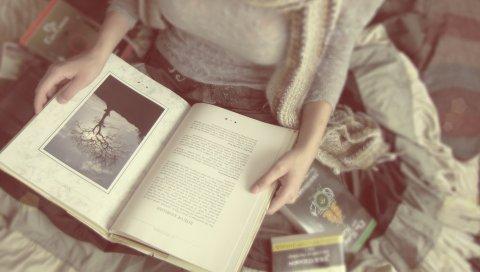 девушка, рука, книги, настроение, размытость