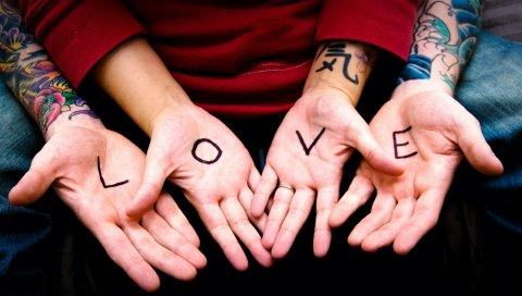 рука, пара, татуировки, сердце, любовь ,