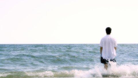 мальчик, пляж, море, пена, гармония , медитация