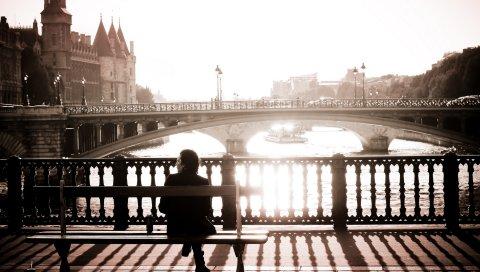 Город, люди, сидеть, набережные, мосты