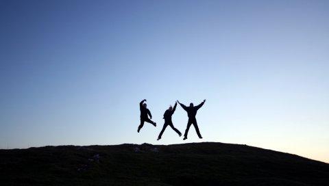 Люди, прыгать, холм, тень, силуэт