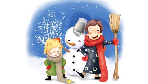 Рисунок, дети, веселье, снеговик, зима, ведро, метла, пуговицы, шарфы