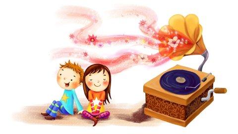 Рисунок, дети, девушка, мальчик, счастье, вместе, вихрь, свечение, граммофон, запись