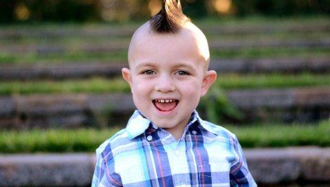 Ребенок, мальчик, волосы, волосы, могавк, улыбка, зубы, уши