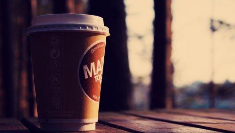 Настроение, чашка, стекло, кофе, улица